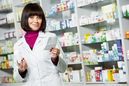 pharmaceutic: pharmacist chemist woman working in pharmacy drugstore with doctor prescription