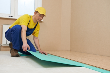 Housing Decoration One Carpenter Worker Laying Cork Boards During Indoors Flooring Work Stock Photo