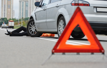 offence: Road accident. Knock down pedestrian and upset driver in front of automobile crash car collision