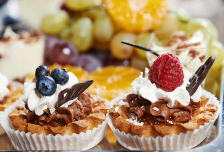 catering services background with cake fruit food in restaurant Stock Photo - 24606983