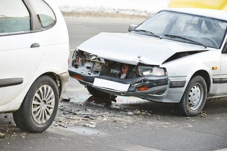crash car: car crash collision accident on an city road highway