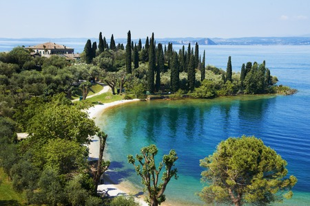 garda: lake Garda in Italy. Bay and resort camping
