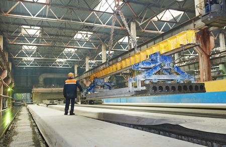housebuilding: industrial interior of house-building plant factory workshop enterprise
