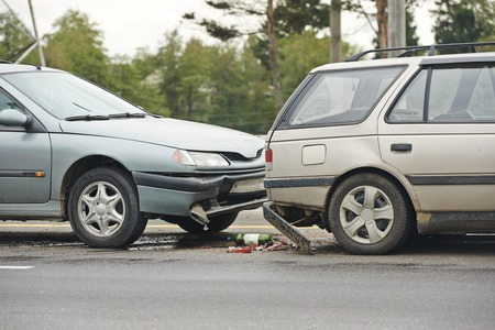 front of car: car crash collision accident on an city road highway