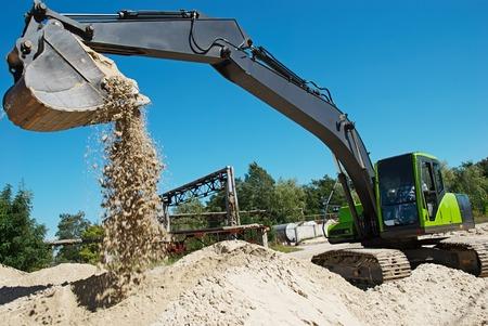 sand quarry: excavator machine at excavation work in sand quarry