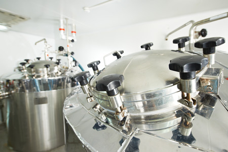 filtration: Pharmaceutical technology equipment tank facility for water preparation, cleaning and treatment Stock Photo