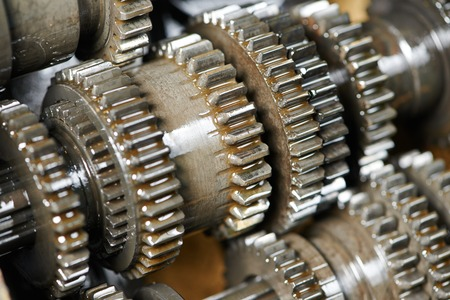 disassembly: close-up of automobile engine or transmission steel gear box Stock Photo