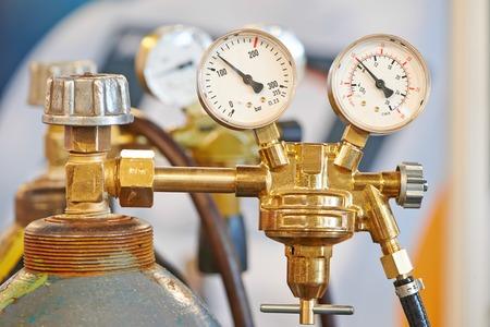 welding equipment acetylene gas cylinder tank with gauge regulators manometers photo