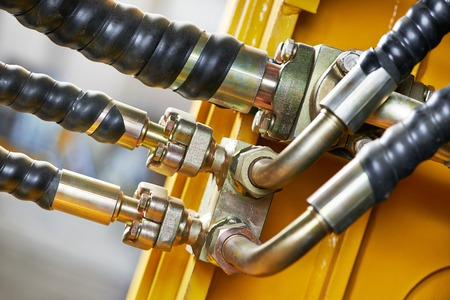 Hydraulic pressure pipes system of construction machinery Stok Fotoğraf - 27626577