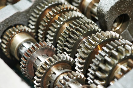 gearbox: close-up of automobile engine or transmission steel gear box Stock Photo