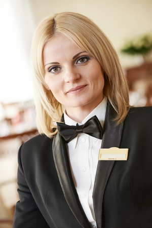 beautiful restaurant manager woman administrator at work place photo