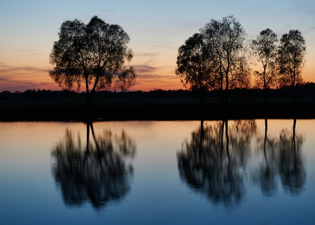 rest in peace: sky and clouds of sunset color with reflection in the lake