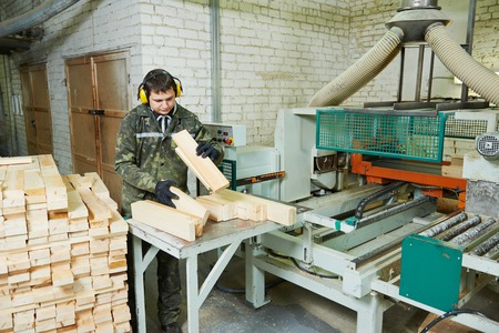 machine operator: Workers of woodworking manufacture operating on machine Stock Photo