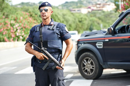 Italian special military police force carabinier on duty photo