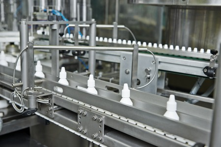pharmaceutical medicine industrial production line with plastic bottles for liquid drugs