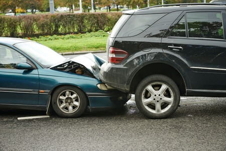 car crash collision accident on an city road Stock Photo - 31179356