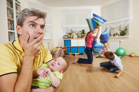 confusion: parent in confusion state or stress from children bad manners behaviour