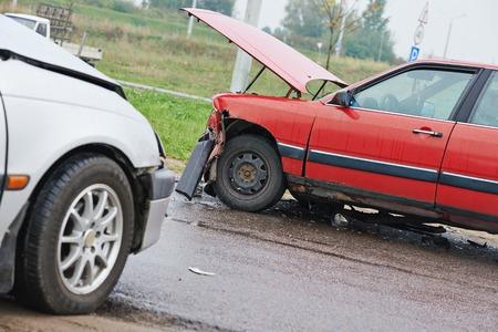 automobile car crash accident on an city road Reklamní fotografie
