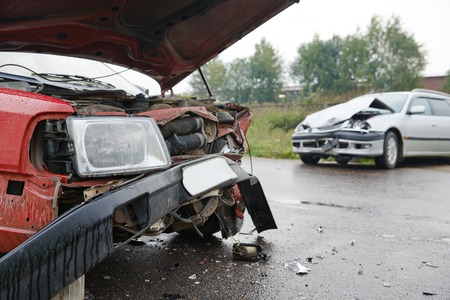 automobile car crashed and damaged after city accident on an road