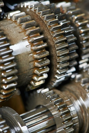 close-up of automobile engine or transmission steel gear box photo