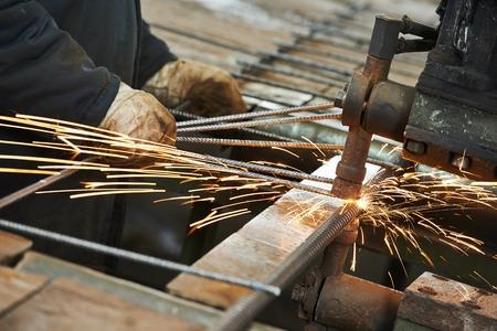 reinforcement: Spot welding machine. reinforcement production at factory