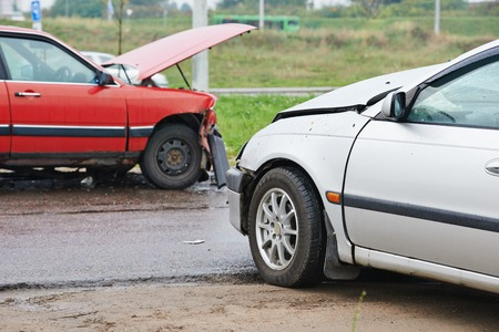accident traffic accident: automobile car crash accident on an city road Stock Photo