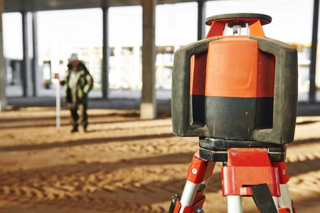 rotating: Rotating laser levelling equipment at construction building area