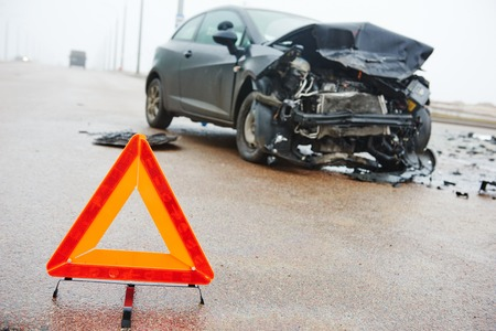 traffic accidents: car crash accident on street, damaged automobiles after collision in city Stock Photo