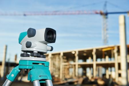 tachymeter: Surveyor equipment optical level outdoors at construction site