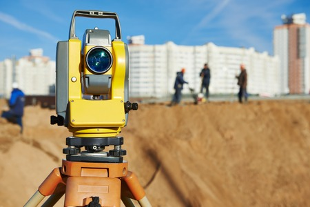 Surveyor equipment tacheometer or theodolite outdoors at construction site Stock Photo