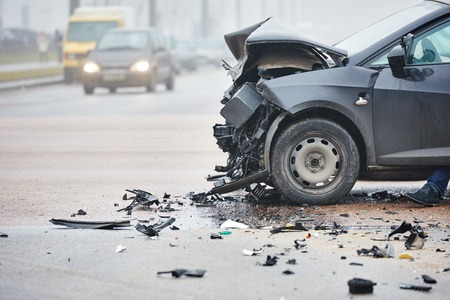 damaged: car crash accident on street, damaged automobiles after collision in city Stock Photo