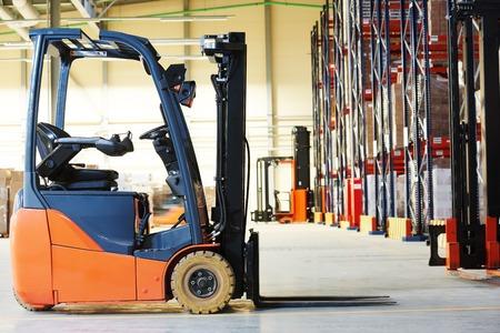 merchandise: forklift loader pallet stacker truck equipment at warehouse