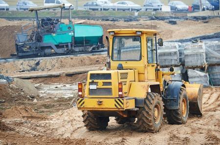 wheel loader: wheel loader excavator at construction earthmoving works