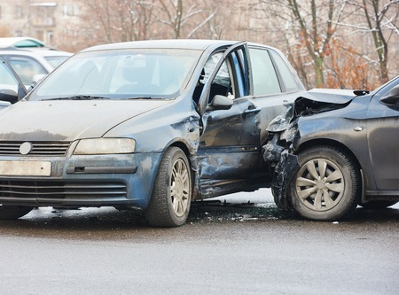 car crash accident on street, damaged automobiles after collision in city Reklamní fotografie - 36915904