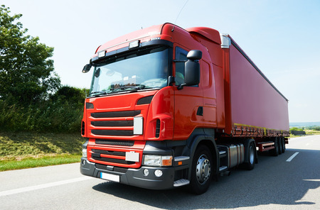 autobahn: Lorry with trailer on highway autobahn interstate road