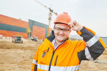 obrero: gerente de construcción feliz o sitio de construcción trabajador capataz Foto de archivo