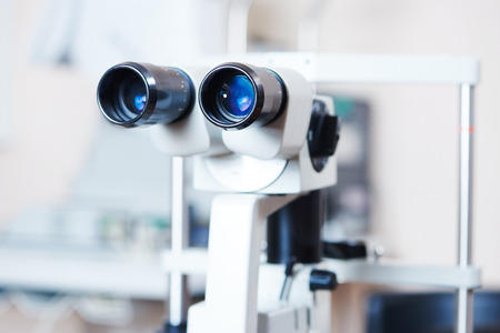 optical medical devices used in ophthalmology for eyesight examination Stock Photo