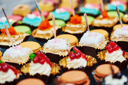 holiday catering: catering services background with sweet snacks and food in restaurant