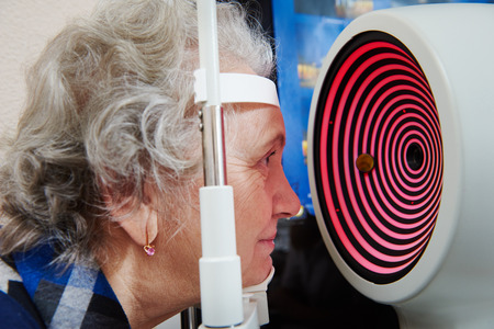 far sighted: Optometry and ophthalmology.  senior woman patient under sight testing or eye examinations in clinic