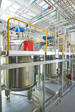 Pharmaceutical technology equipment facility for water preparation, cleaning and treatment at pharmacy plant Stock Photo