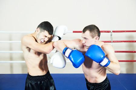 combat sport: combat sport muai thai sportsman fighting at training boxing ring