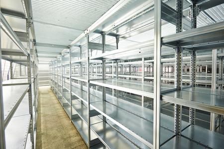 stockpile: modern metal warehouse shelves construction indoors
