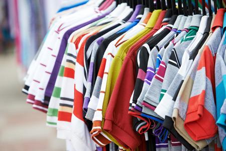 Close-up shirt and clothing apparel at shopping store