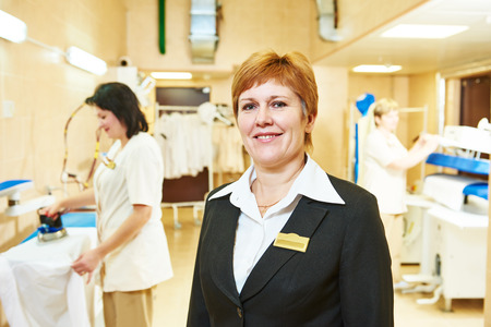 dry clean: Portrait of hotel linen cleaning service manager Stock Photo