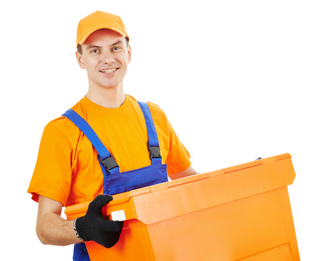 plastic box: Smiling male postal delivery courier man in front of white bachground Stock Photo