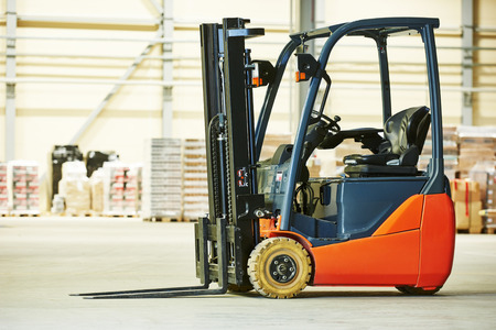 warehouse cargo: forklift loader pallet stacker truck equipment at warehouse