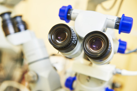 ocular diseases: optical medical devices used in ophthalmology for eyesight examination Stock Photo