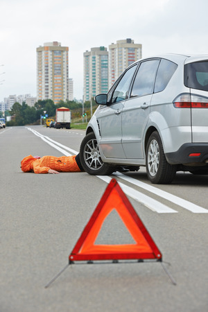 knock: Road accident. Knock down pedestrian and upset driver in front of automobile crash car collision