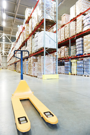 stacker: Manual forklift pallet stacker truck equipment at warehouse panorama
