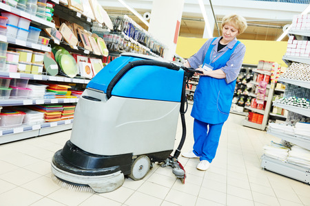 bioclean: Floor cleaning services with washing machine in supermarket shop store